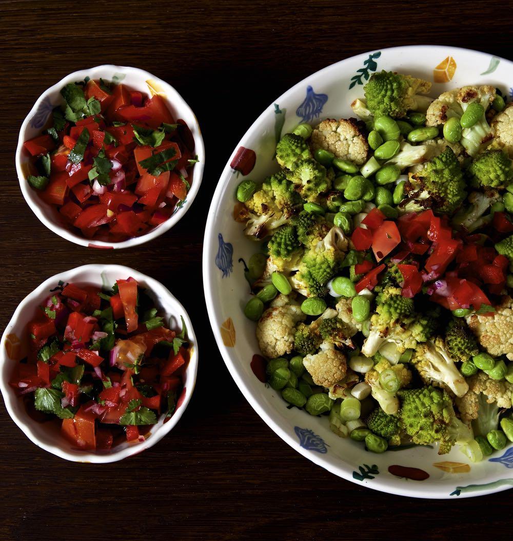 Roast Cauliflower Salad with Sweet Pepper Salsa.