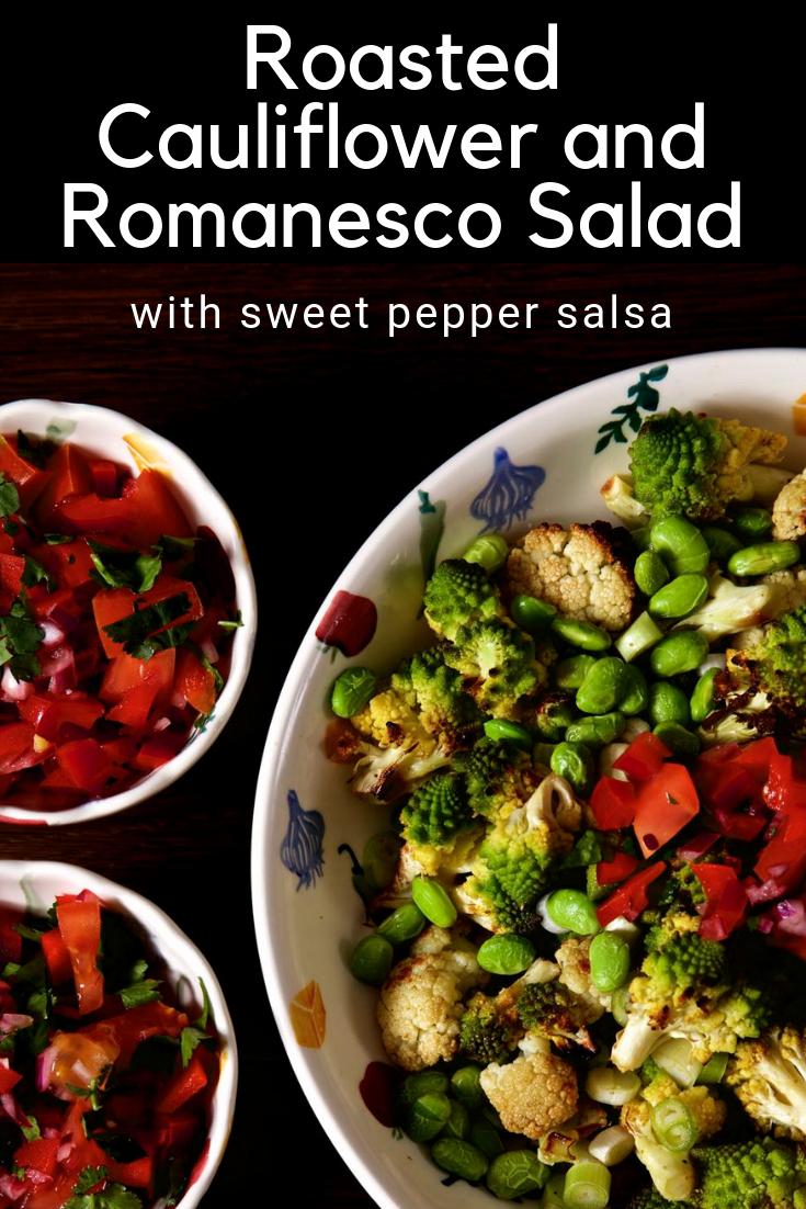 Roasted Cauliflower and Romanesco Salad with Sweet Pepper Salsa.