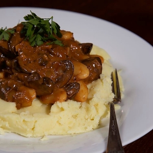 Vegan Stroganoff served with mustard mashed potato