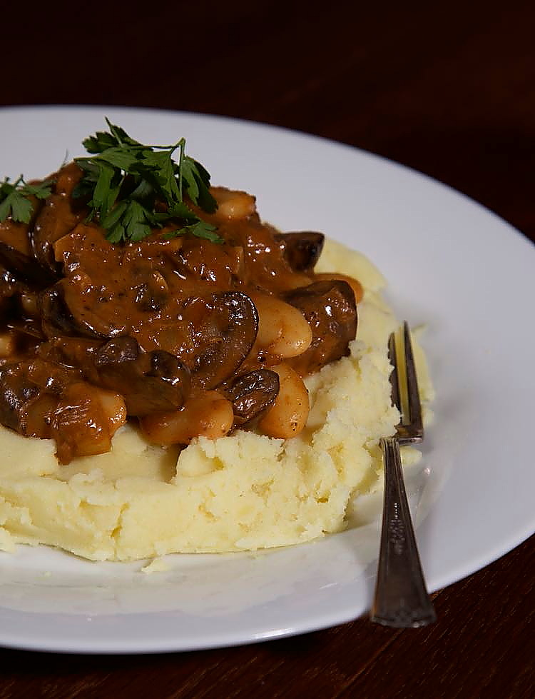 Vegan Mushroom Stroganoff served with mustard mashed potato.