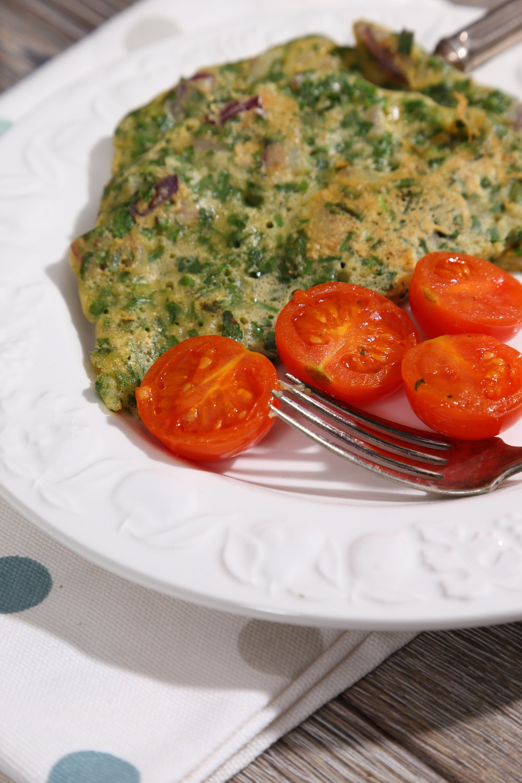 Gluten Free Vegan Omelette with Fresh Herbs.