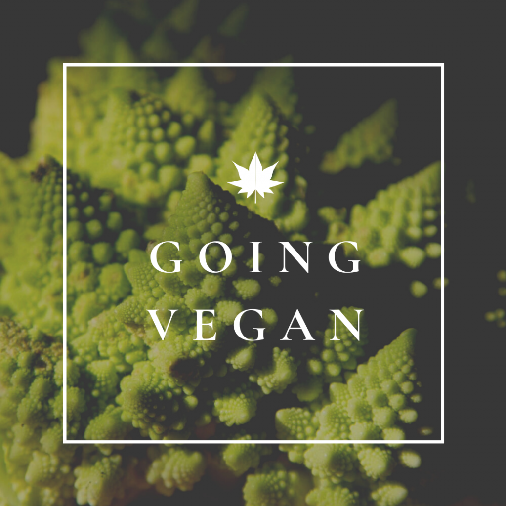 "Romanesco Broccoli with text overlay ""Going Vegan""."