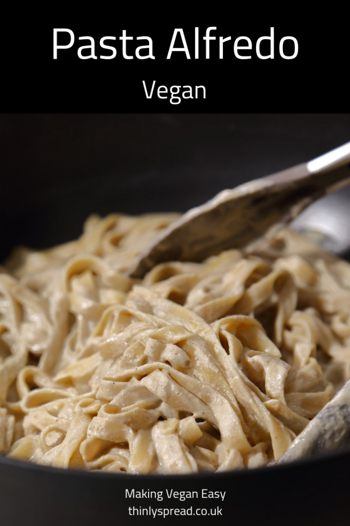 Vegan Alfredo Sauce - Creamy Vegan Pasta Alfredo Recipe made with Sunflower Seed Cream! Ribbons of Tagliatelle coated with savoury, creamy and totally vegan Alfredo sauce!