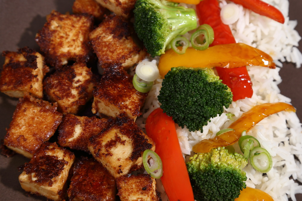 Spicy peanut butter tofu with chilli and soy is a really easy tofu recipe for a simple midweek meal.