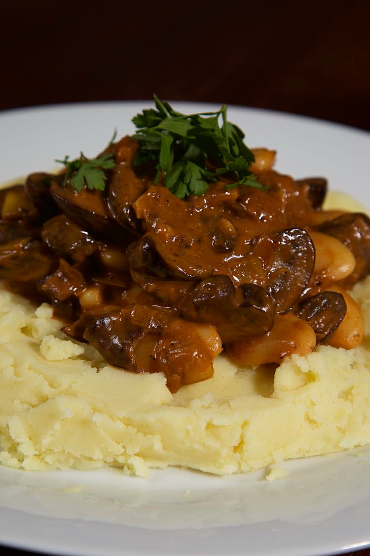 Smoky Vegan Mushroom Stroganoff with mustard mashed potato.
