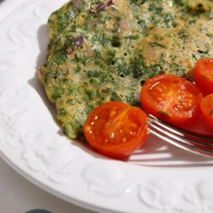 Easy, 5 ingredient, Vegan Omelette with Fresh Herbs and Tomatoes