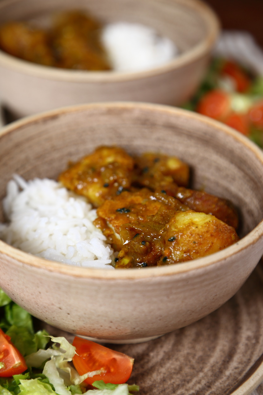 Simple roast potato curry with rice.