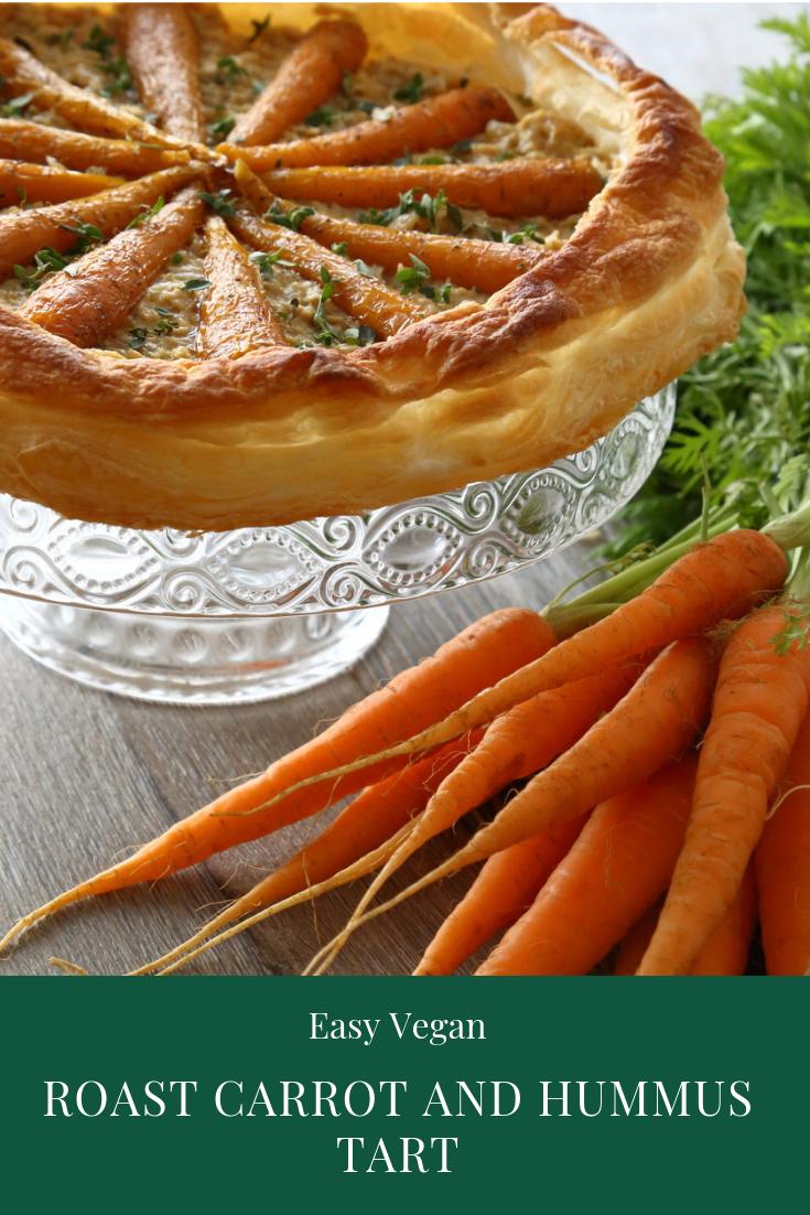 Easy Vegan Roast Carrot and Hummus Tart.