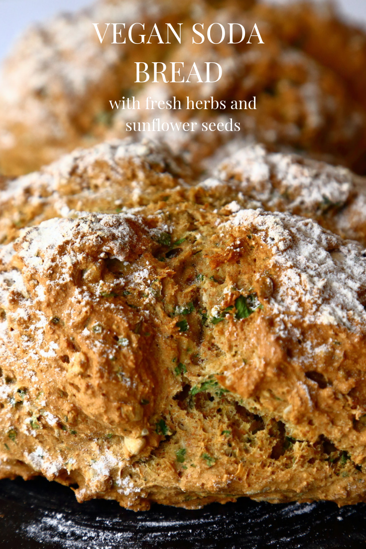 Easy Vegan Soda Bread Recipe with Fresh Herbs and Sunflowr Seeds.