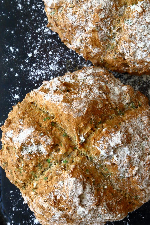 Vegan soda bread on a baking tray.