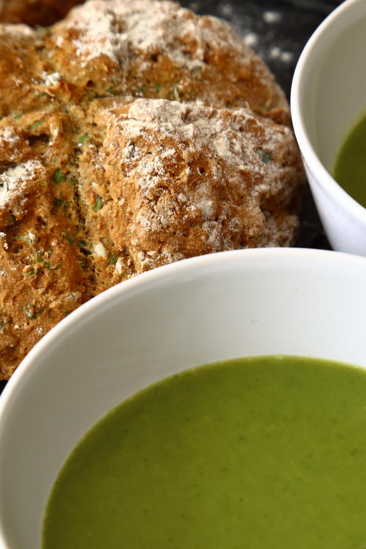 Vegan soda bread with lettuce soup.