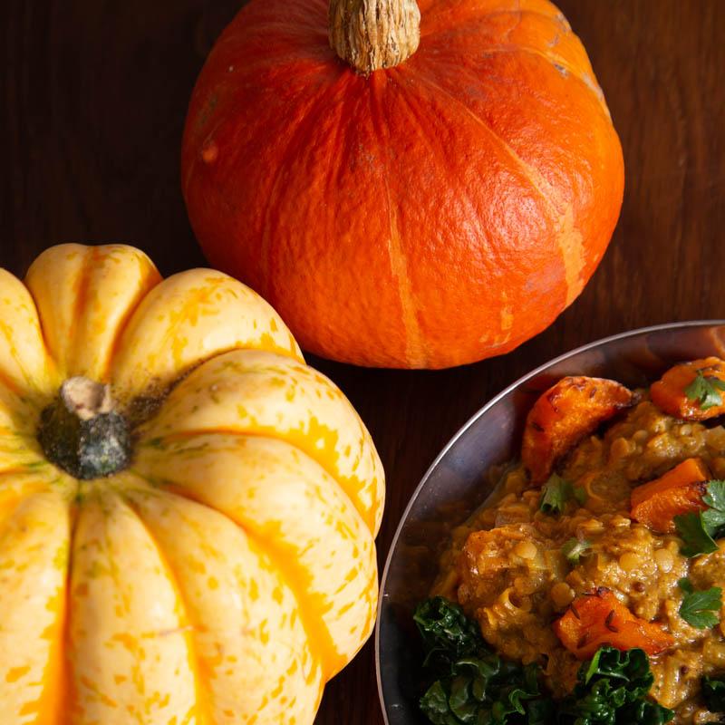 Autumn pumpkins for a vegan dal.