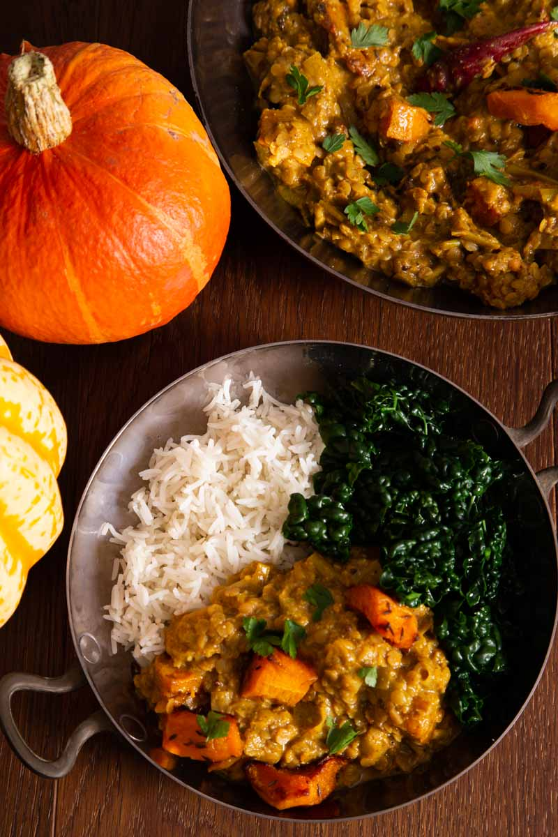 Pumpkin Curry with rice and kale.