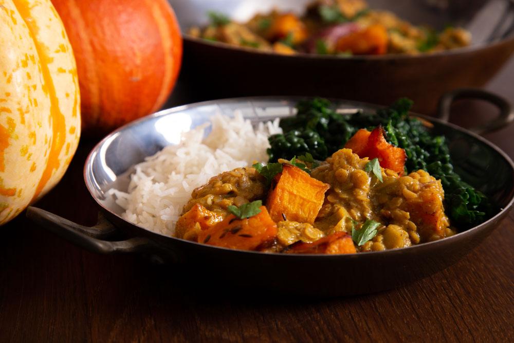 Roast Pumpkin Dal with Rice.
