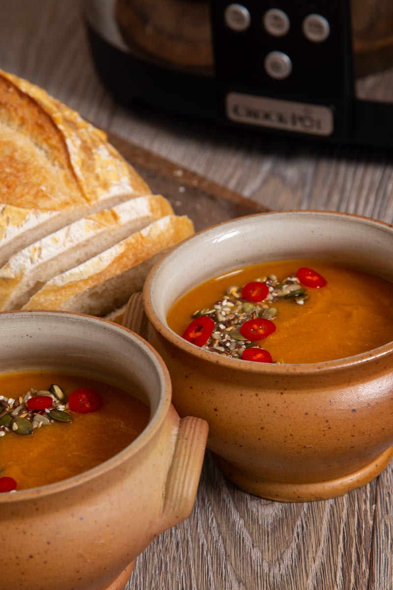 Slow Cooker Swede Soup with Seeds and Chilli.