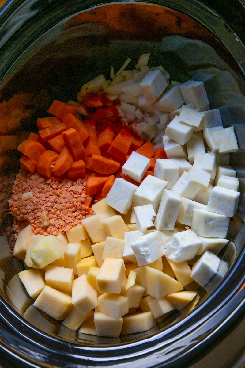 Slow cooker root vegetables for soup