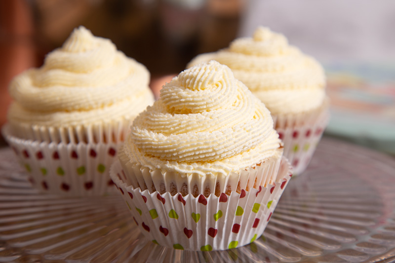 Vegan Vanilla Buttercream on cupcakes.