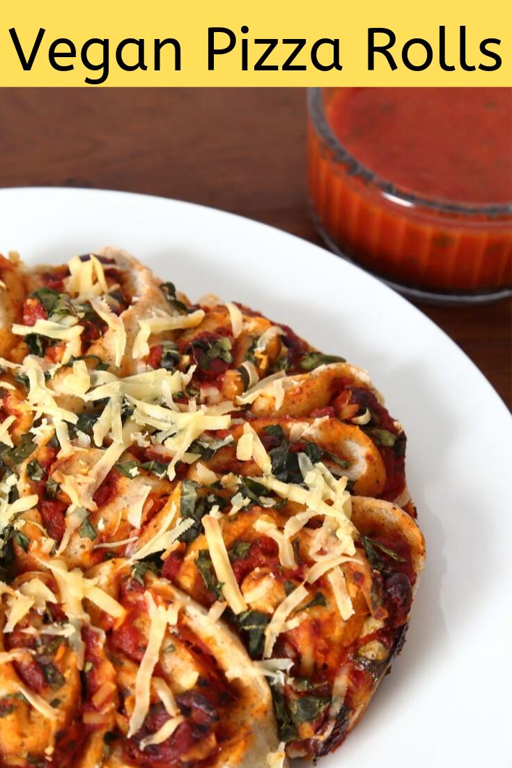 Vegan Pizza Rolls with tomato salsa.
