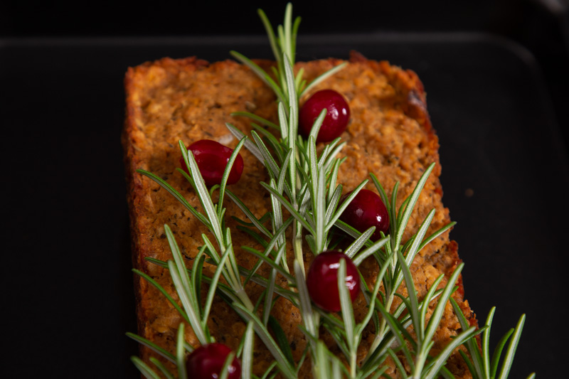 Vegan Christmas Lentil Loaf with cranberries and rosemary.