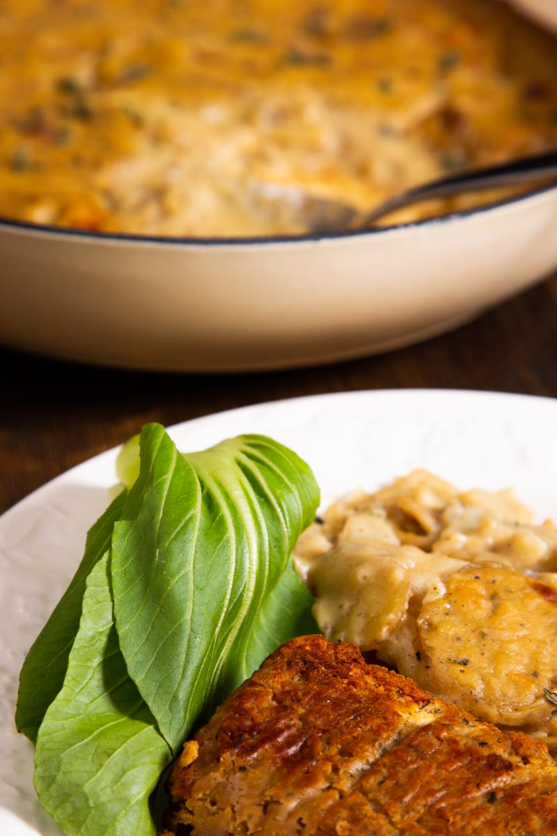Vegan Scalloped Potatoes with Lentil Loaf.