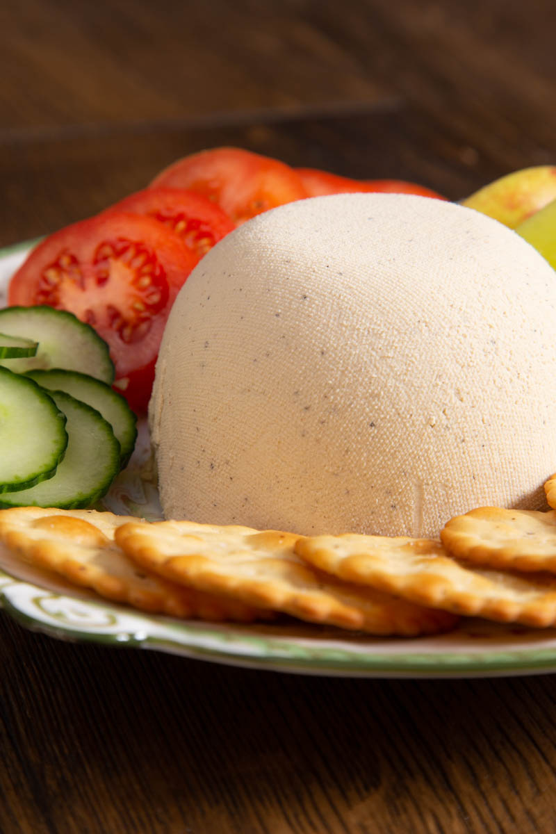 Cashew Nut Cheese with crackers.