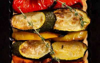 Vegan Tart With Roasted Vegetables and Smoked Garlic