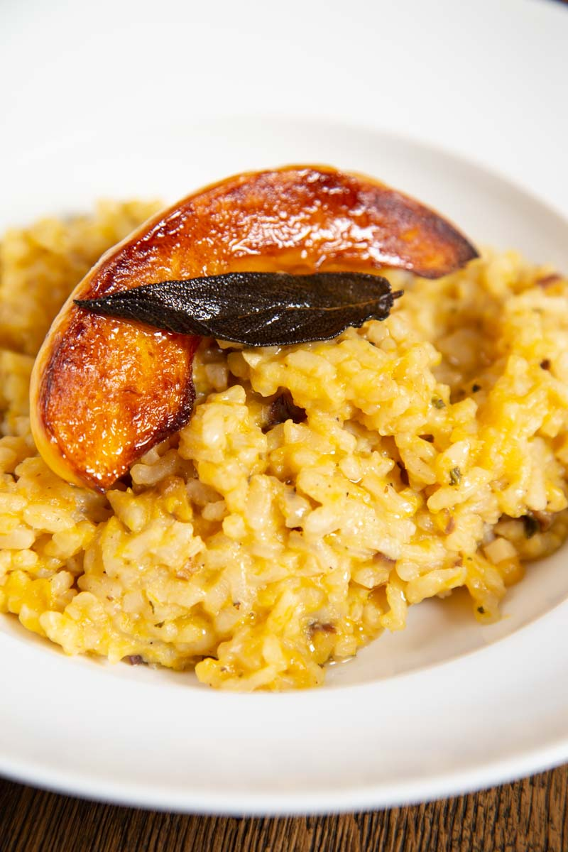 Oven Baked Pumpkin Risotto with Crispy Fried Sage