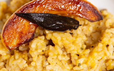 Baked Pumpkin Risotto with Chestnuts and Crispy Fried Sage