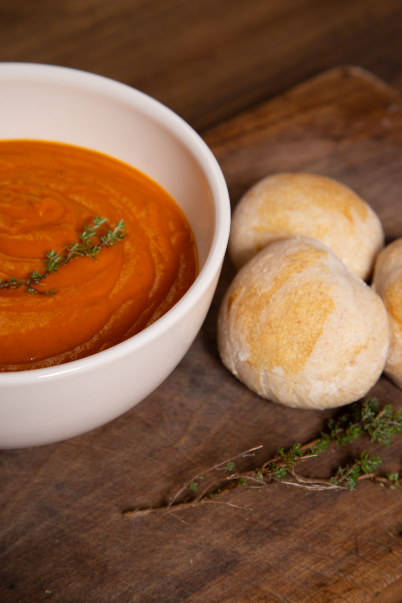 Roast Tomato Soup with bread rolls.