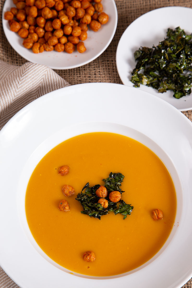 Sweet potato and lentil soup with kale crisps and spiced chickpeas
