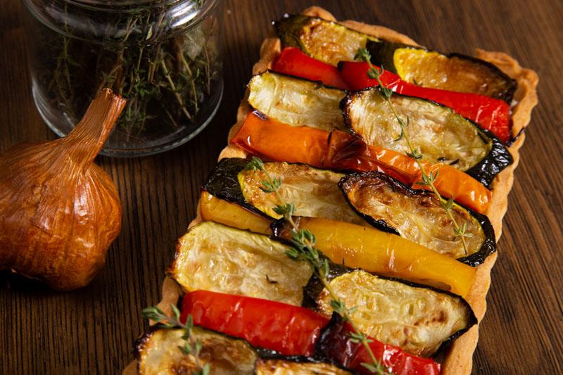 Vegan Tart with Roast Vegetables and Smoked Garlic.