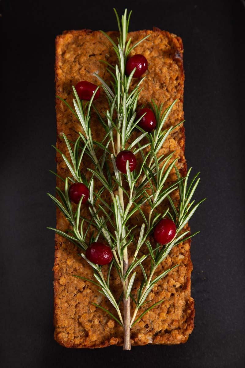 Lentil Loaf for a Vegan Christmas Dinner.