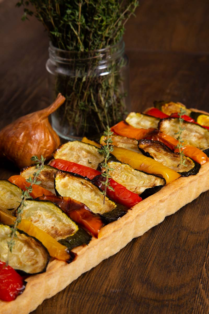 Vegan roast vegetable tart.