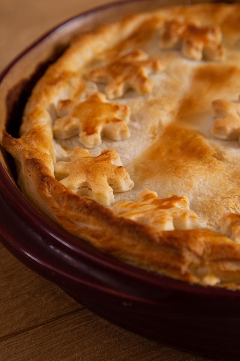 Flaky pastry crust on a Vegan Pie.