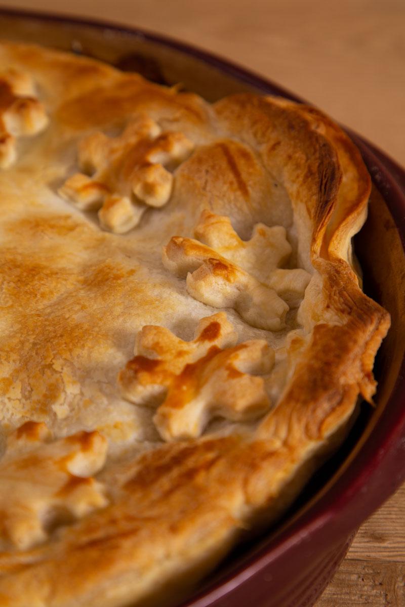 Puff pastry topped vegan mushroom pie.