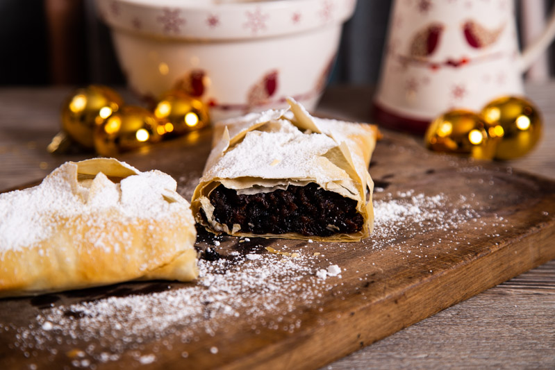 Festive strudel and decorations.