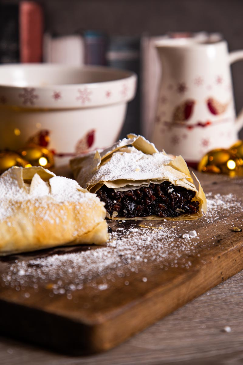 Christmas Pudding Strudel with Christmas crockery.