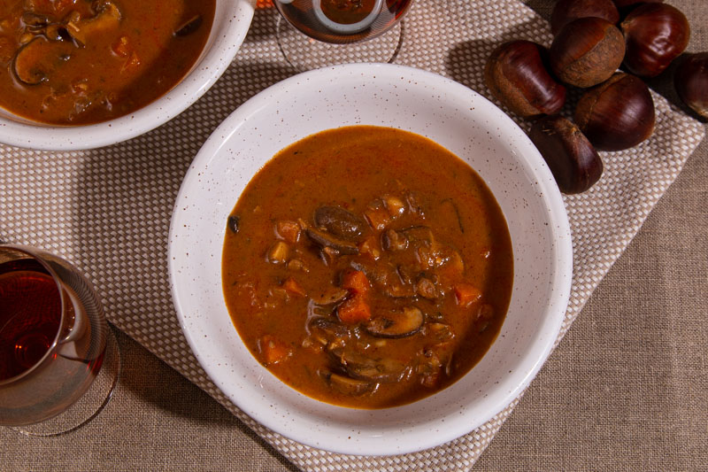Winter soup with chestnuts and mushrooms.