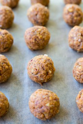 Meatfree Meatballs rolled and ready to bake