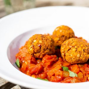 Vegan Lentil Meatballs and fresh tomato sauce