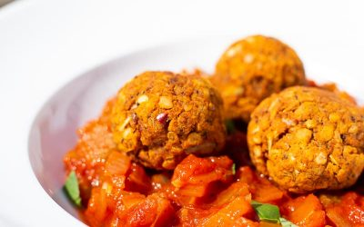 Easy Lentil Meatballs with Fresh Tomato Sauce