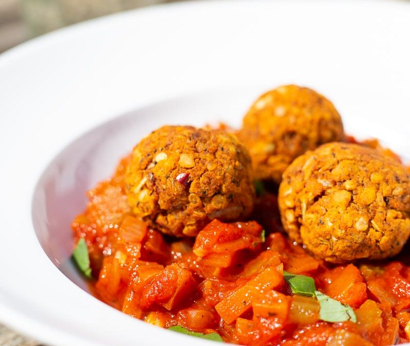 Easy Lentil Meatballs with Fresh Tomato Sauce