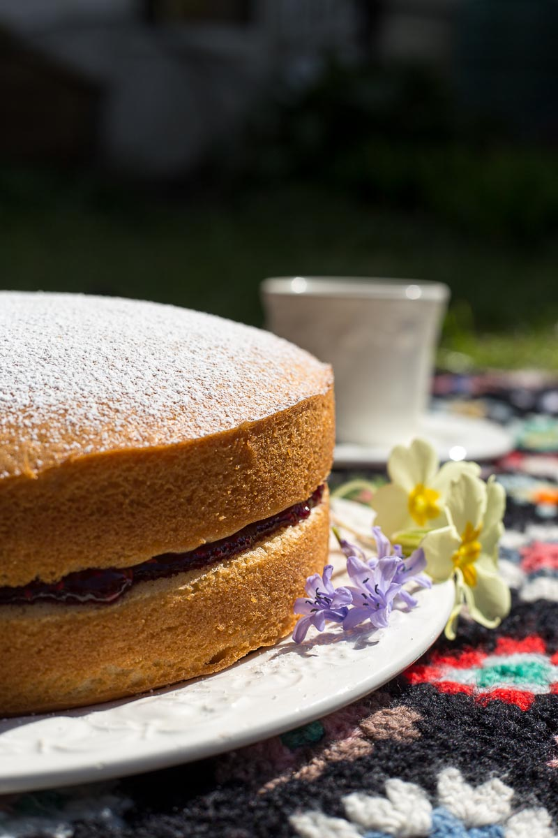 Dairy Free Sponge Cake and afternoon tea on a picnic rug.