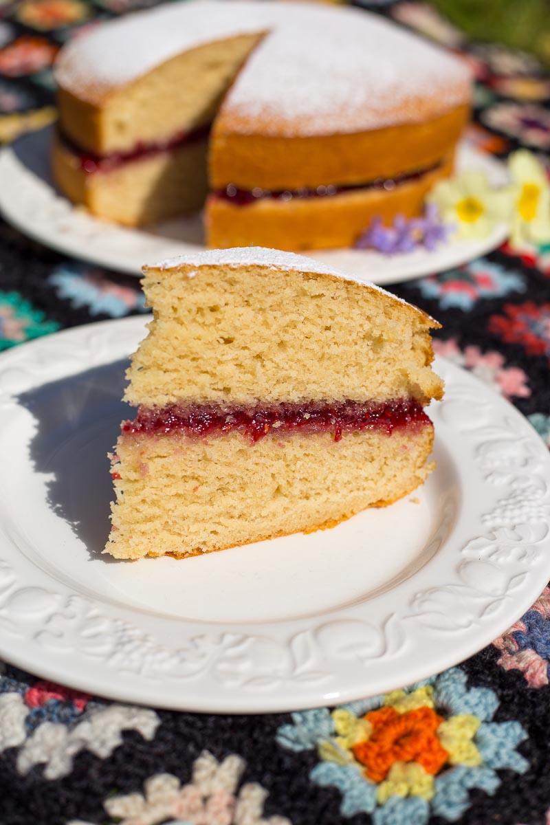 A slice of vegan sponge cake, filled with raspberry jam.