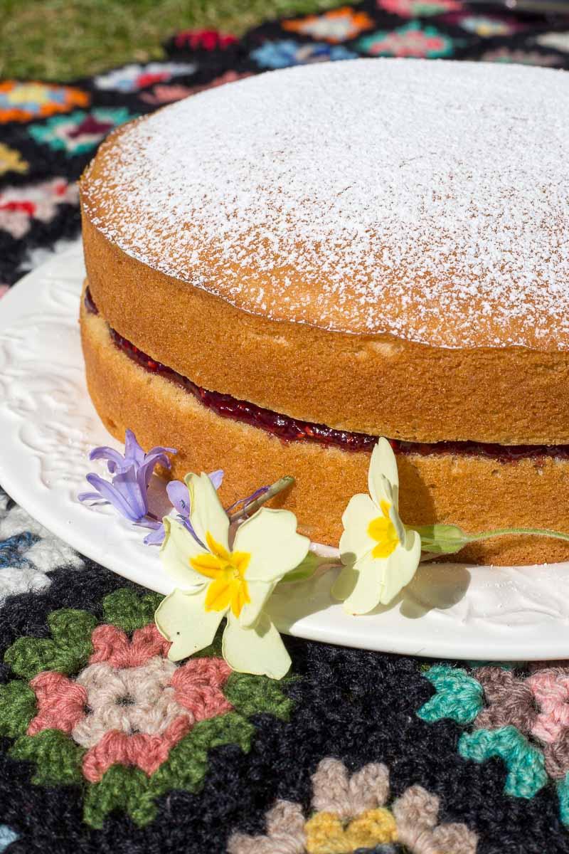 Vegan cake on a vintage granny square blanket in a spring garden.