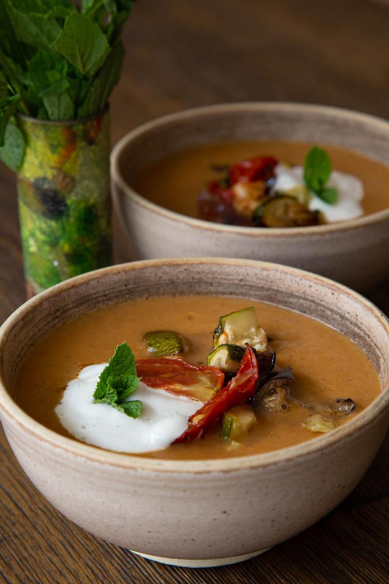 Roast Aubergine Soup in rustic bowls.