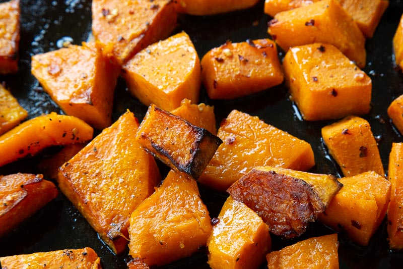 Oven roasted butternut squash chunks.