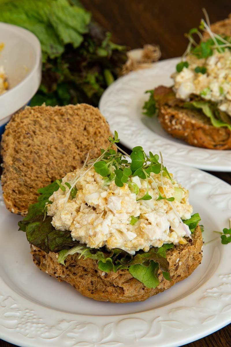 vegan egg mayo sandwich with salad and cress.