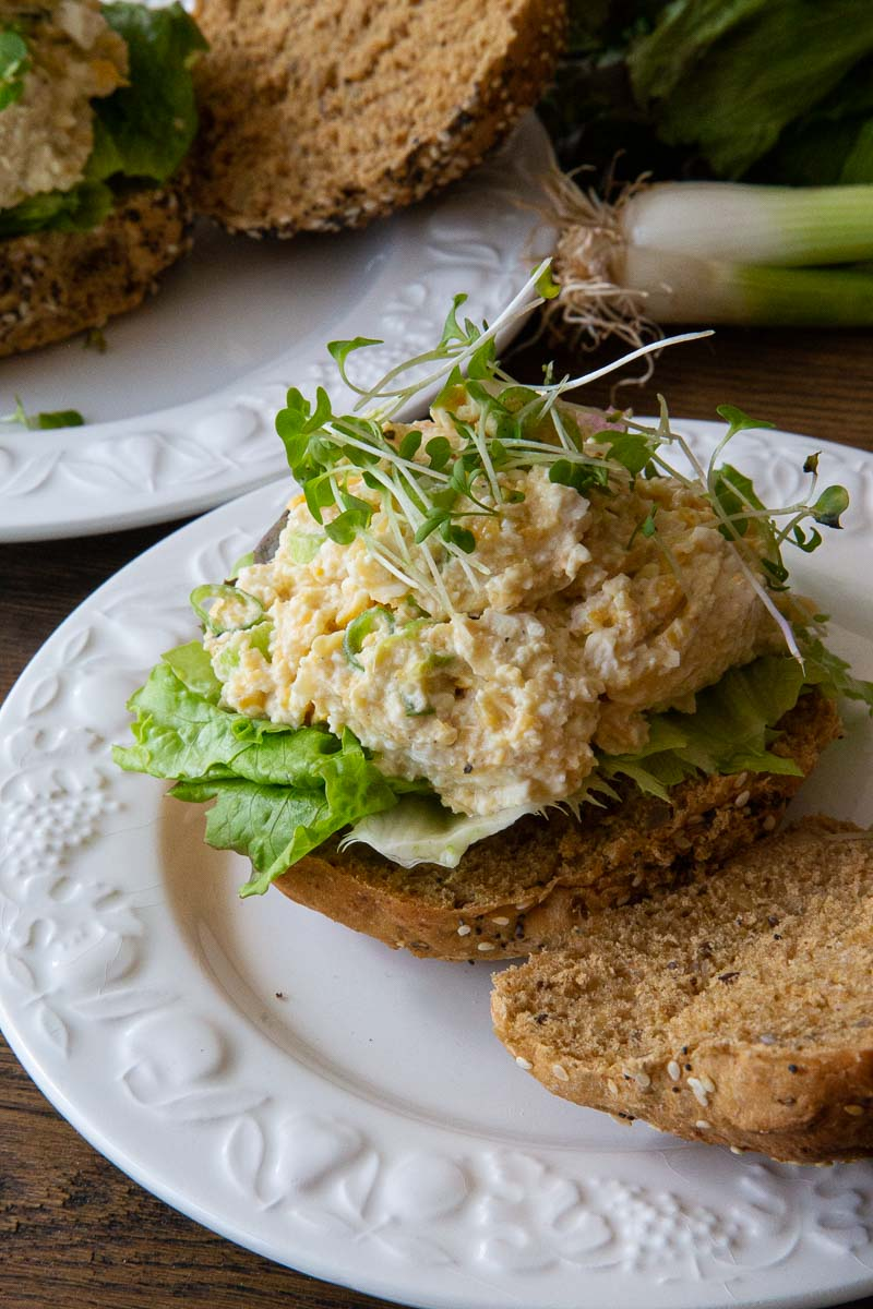 Vegan Egg Salad Sandwich with Cress.