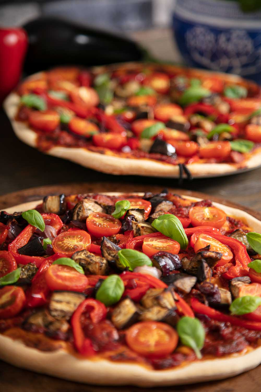 Roasted Aubergine, Pepper and Tomato Pizza.